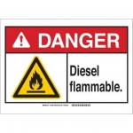 Brady 144964, 10″ x 14″ Plastic ANSI Sign, Legend: Diesel Flammable