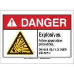 Brady 144987, 10″ x 14″ Plastic ANSI Sign, Legend: Explosives…