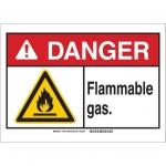 Brady 145016, 10″ x 14″ Plastic ANSI Sign, Legend: Flammable Gas