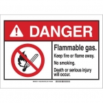 Brady 145024, ANSI Sign, Legend: Flammable Gas Keep Fire or…