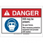 Brady 145057, ANSI Sign, Legend: H2S May Be Present…