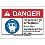 Brady 145067, ANSI Sign, Legend: H2S Poisonous Gas May…