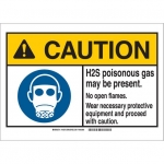 Brady 145075, ANSI Sign, Legend: H2S Poisonous Gas May…