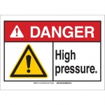 Brady 145139, 10″ x 14″ Plastic ANSI Sign, Legend: High Pressure
