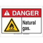 Brady 145182, 10″ x 14″ Plastic ANSI Sign, Legend: Natural Gas