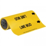 Brady 15549, 12″ x 30′ Vinyl Lime Mud Pipe Marker, Black on Yellow