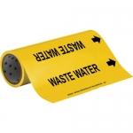 Brady 15576, 12″ x 30′ Vinyl Waste Water Pipe Marker, Black on Yellow