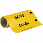 Brady 15586, 12″ x 30′ Vinyl Oxygen Pipe Marker, Black on Yellow