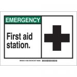 Brady 62818, Emergency First Aid Station. Sign