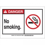 Brady 62827, Danger No Smoking. Sign, Black/Red on White