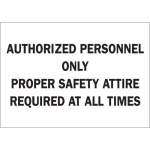 Brady 70846, Personnel Only Proper Safety Attire… Sign