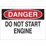 Brady 22960, Do Not Start Engine Sign, Black/Red on White