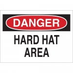 Brady 22984, Hard Hat Area Sign, Black/Red on White