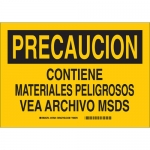 Brady 39126, Precaucion Contiene Materiales… Sign