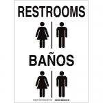 Brady 38484, 14″ x 10″ Aluminum Bilingual Restrooms Sign