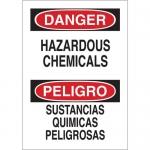 Brady 39074, Bilingual Danger Hazardous Chemicals Sign