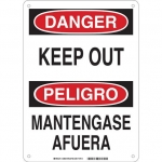Brady 38609, Danger Keep Out Sign, Black/Red on White