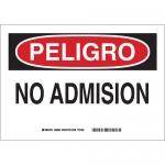 Brady 38660, 14″ x 10″ Polystyrene Peligro No Admision Sign