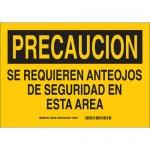 Brady 38738, Precaucion Se Requieren Anteojos De… Sign