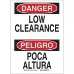 Brady 38362, 14″ x 10″ Aluminum Bilingual Danger Low Clearance Sign