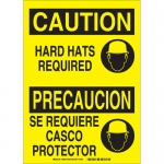 Brady 38939, Bilingual Caution Hard Hats Required Sign