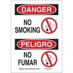 Brady 38990, 14″ x 10″ Polystyrene Bilingual Danger No Smoking Sign