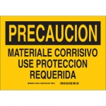 Brady 39127, Corrosivo Use Proteccion Requerida Sign