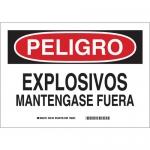Brady 39136, Peligro Explosivos Mantengase Fuera Sign