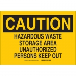 Brady 40843, Caution Hazardous Waste Storage Area… Sign