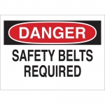 Brady 22438, Danger Safety BeLTS Required Sign