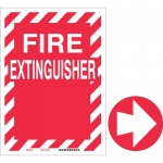 Brady 70855, 12″ x 9″ Fiberglass Fire Extinguisher Sign, White on Red