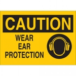 Brady 25908, 10″ x 14″ Polystyrene Caution Wear Ear Protection Sign