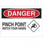 Brady 25913, Danger Pinch Point Watch Your Hands Sign