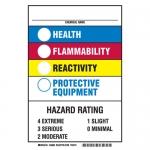 "Brady 46880, ""Chemical Name Health Flammability Reactivity …"" Sign"