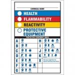 "Brady 46881, ""Chemical Name Health Flammability Reactivity …"" Sign"