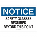 Brady 22627, Glasses Required Beyond This Point Sign