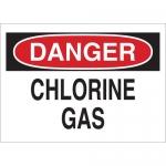Brady 22316, Danger Chlorine Gas Sign, Black/Red on White