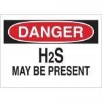 Brady 25437, 10″ x 14″ Polystyrene Danger H2S May Be Present Sign