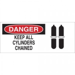 Brady 43487, 10″ x 14″ Aluminum Danger Keep All Cylinders Chained Sign
