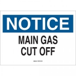 Brady 23060, Notice Main Gas Cut Off Sign, Black/Blue
