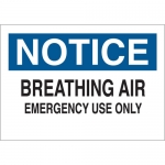 Brady 70227, Notice Breathing Air Emergency Use Only Sign