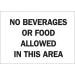 Brady 122860, No Beverages Or Food Allowed… Sign
