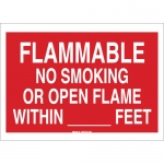 Brady 72255, Smoking or Open Flame with In __ Feet Sign