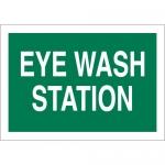 Brady 122473, Eye Wash Station Sign, White on Green