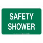 Brady 122475, 10″ x 14″ Polystyrene Safety Shower Sign, White on Green