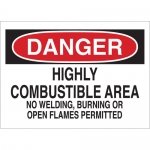 Brady 73484, Combustible Area No Welding, Burning… Sign