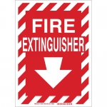 Brady 73661, Polyester Fire Sign, Red on Glow