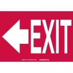Brady 73781, 10″ x 14″ Fiberglass Exit Sign, Black/Red on White