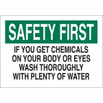 Brady 74616, 14″x20″ Safety First If You Get Chemicals On Your… Sign