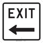 Brady 75110, 18″ x 18″ Fiberglass Exit Sign, Black on White